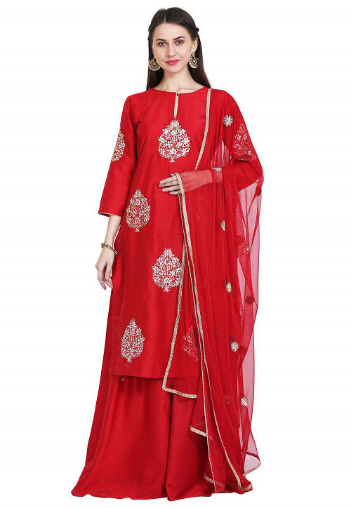 Embroidered Cotton Silk Pakistani Suit in Red