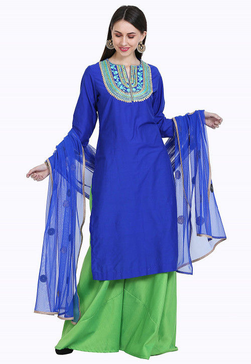 Embroidered Cotton Silk Pakistani Suit in Royal Blue