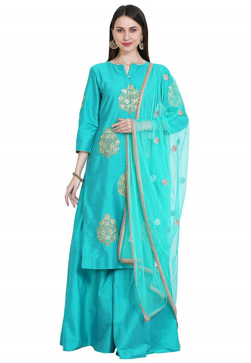 Embroidered Cotton Silk Pakistani Suit in Turquoise