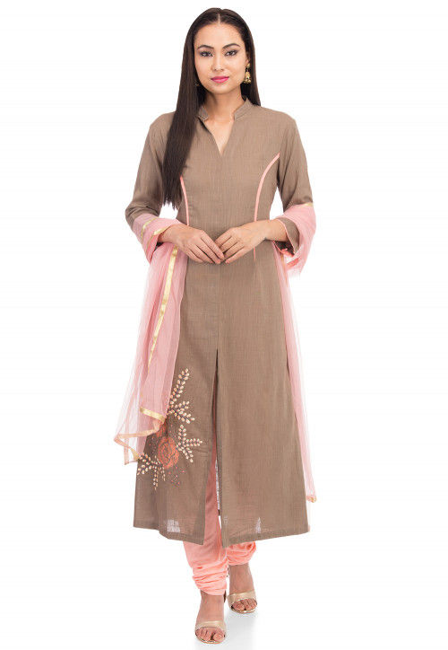 Embroidered Cotton Slub A Line Suit in Fawn