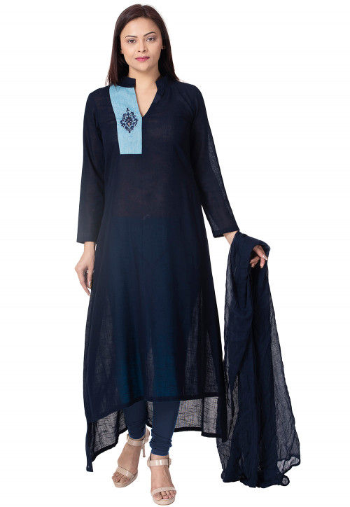 Embroidered Cotton Slub Straight Suit in Navy Blue