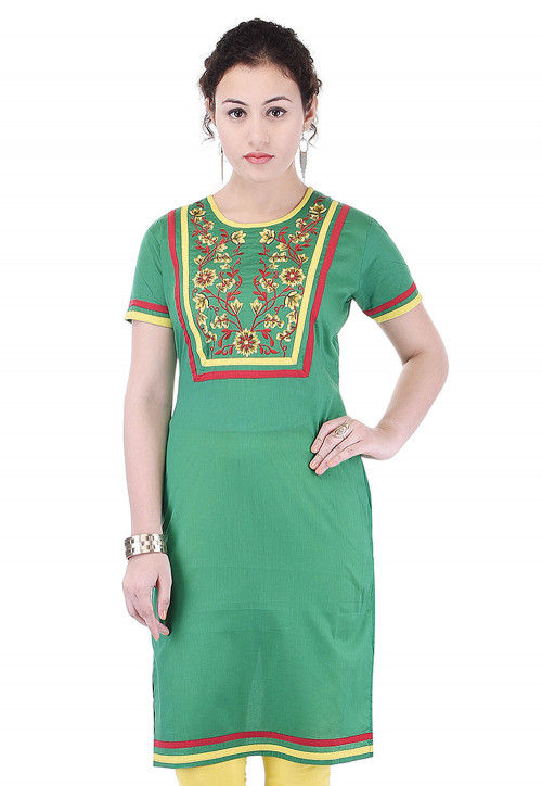 Embroidered Cotton Straight Kurta in Green
