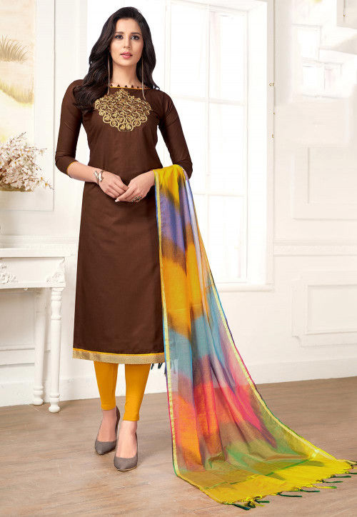 Embroidered Cotton Straight Suit in Brown