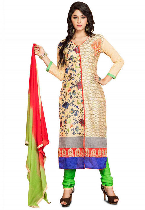 Embroidered Cotton Straight Suit in Cream