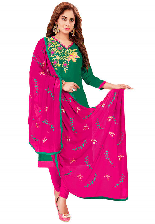 Embroidered Cotton Straight Suit in Dark Green