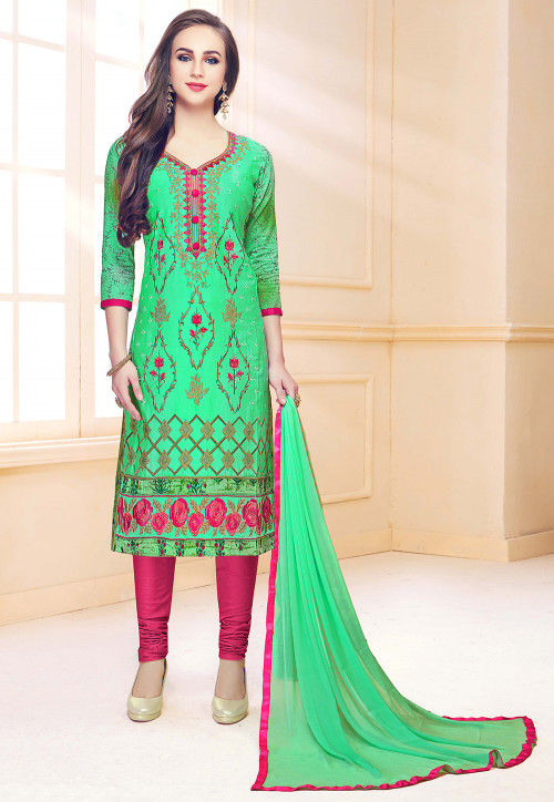 Embroidered Cotton Straight Suit in Green