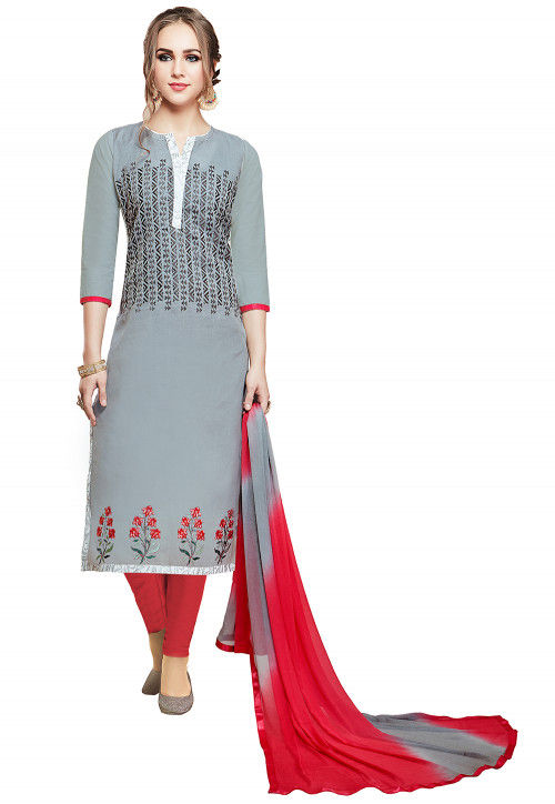 Embroidered Cotton Straight Suit in Grey and Off White