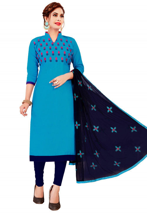 Embroidered Cotton Straight Suit in Light Blue