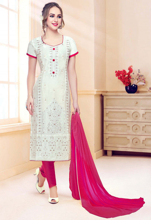 Embroidered Cotton Straight Suit in Off White