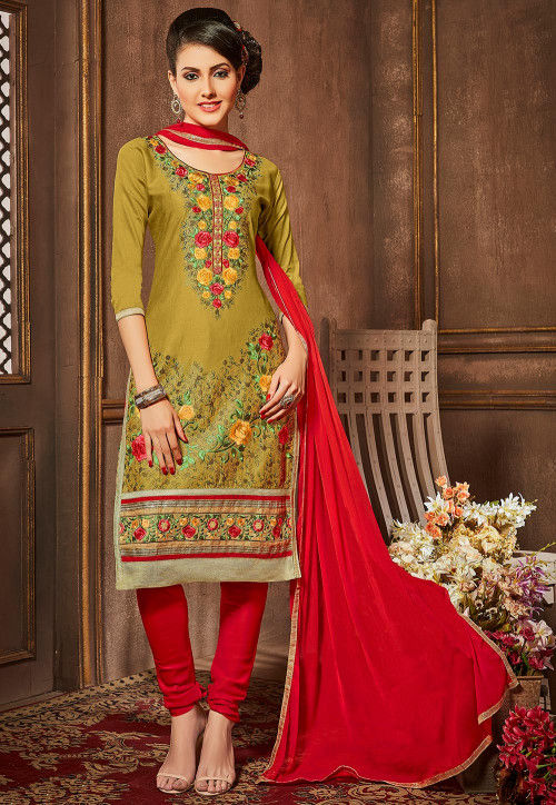 Embroidered Cotton Straight Suit in Olive Green