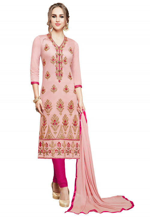 Embroidered Cotton Straight Suit in Peach