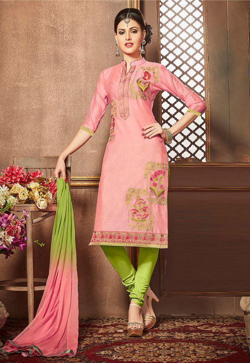 Embroidered Cotton Straight Suit in Pink