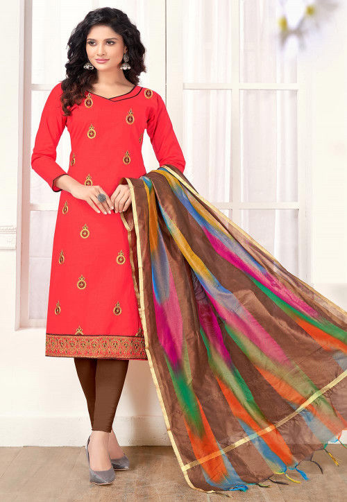 Embroidered Cotton Straight Suit in Red