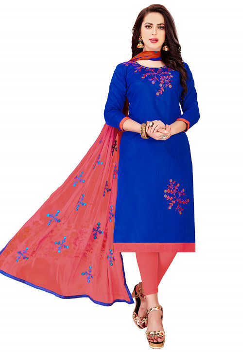 Embroidered Cotton Straight Suit in Royal Blue