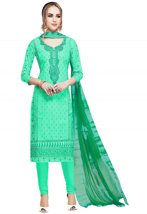 Embroidered Cotton Straight Suit in Sea Green