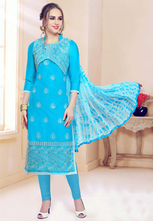 Embroidered Cotton Straight Suit in Sky Blue