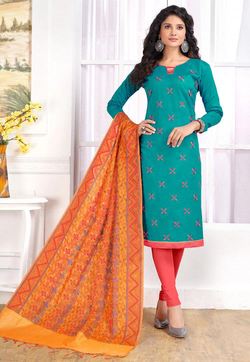 Embroidered Cotton Straight Suit in Teal Blue
