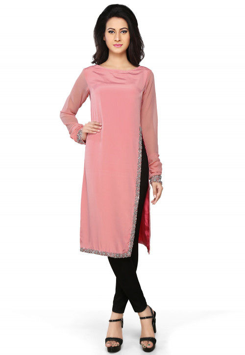 Embroidered Crepe A- Line Tunic in Pink