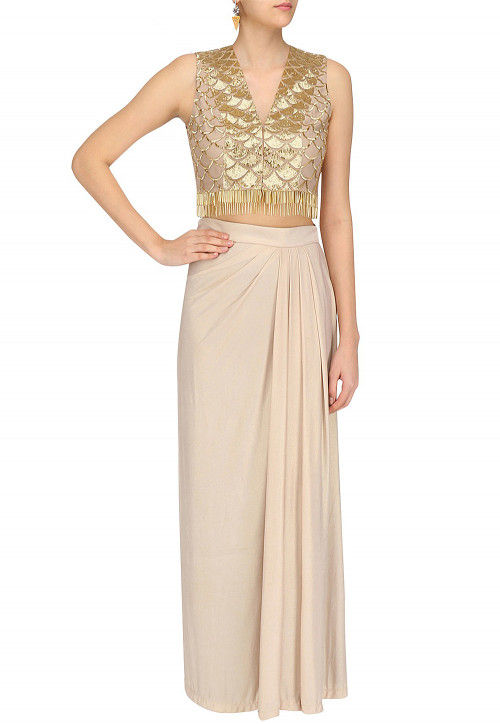 Embroidered Crepe Crop Top with Skirt in Golden
