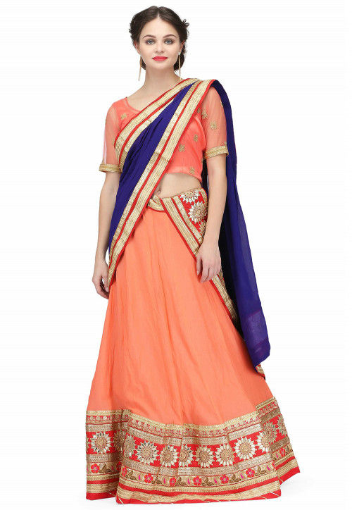Embroidered Crepe Lehenga in Peach