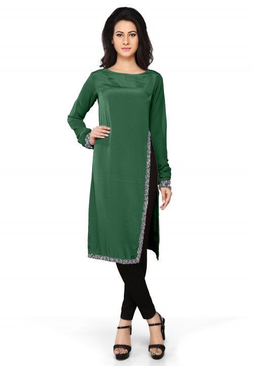 Embroidered Crepe Tunic in Dark Green