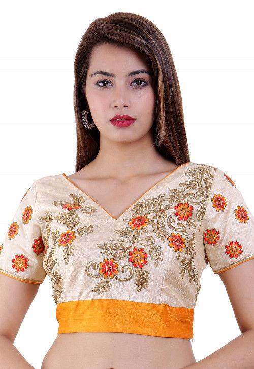 Embroidered Dupion Silk Blouse in Beige