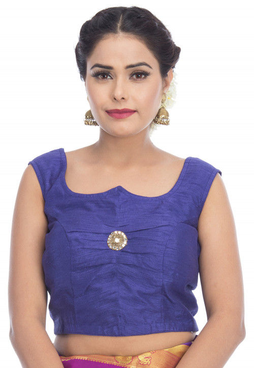 Embroidered  Dupion Silk Blouse in Blue