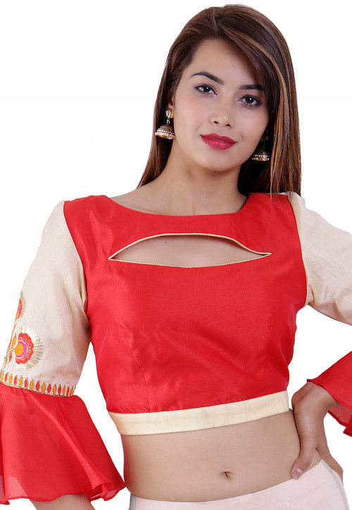 Embroidered Dupion Silk Blouse in Red And Beige