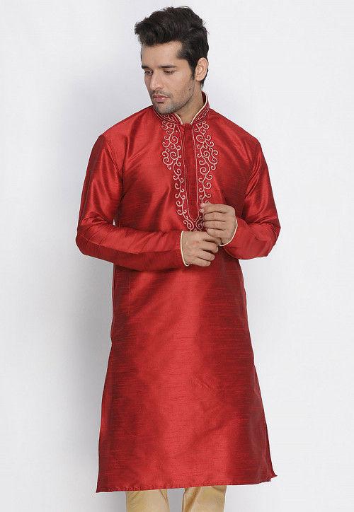 Embroidered Dupion Silk Kurta in Red
