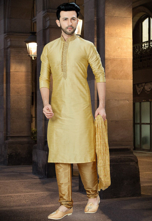 Embroidered Dupion Silk Kurta Pajama in Beige