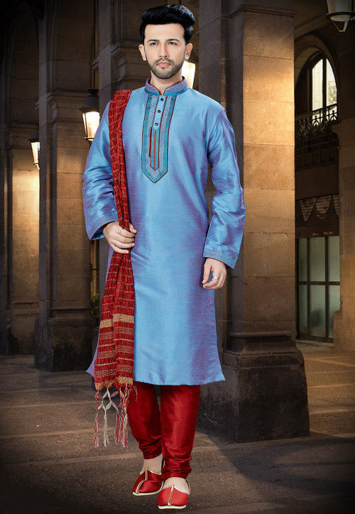 Embroidered Dupion Silk Kurta Pajama in Blue