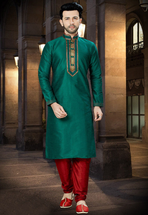 Embroidered Dupion Silk Kurta Pajama in Dark Green