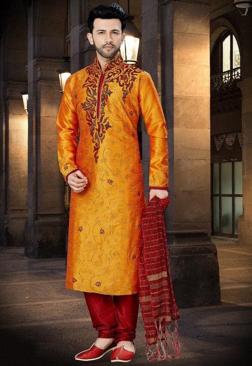 Embroidered Dupion Silk Kurta Pajama in Orange