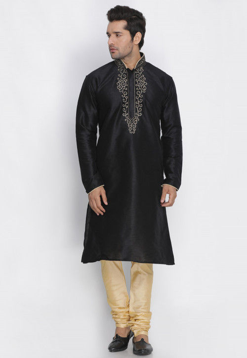 7acb9a7430 Embroidered Dupion Silk Kurta Pajama Set in Black : MTR596