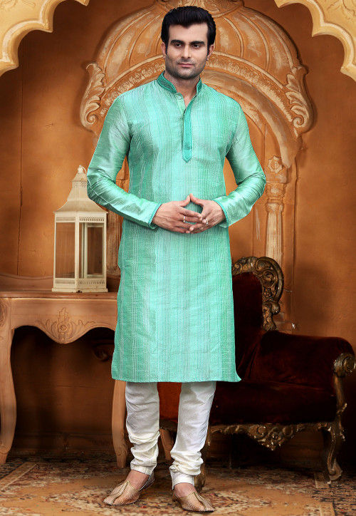 Embroidered Dupion Silk Kurta Set in Sea Green