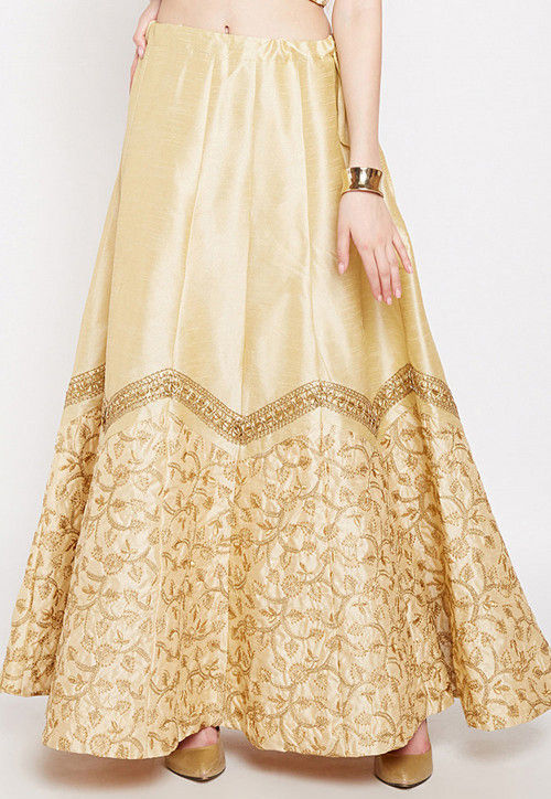 Embroidered Dupion Silk Long Skirt in Beige
