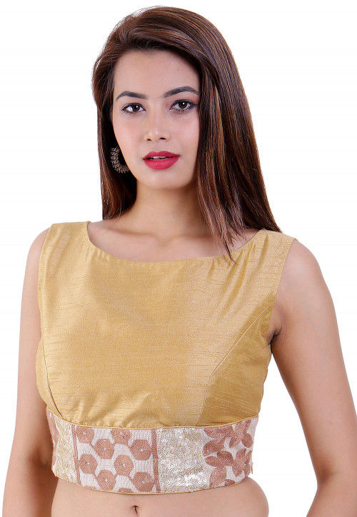 Embroidered Dupion Silk Padded Blouse in Beige