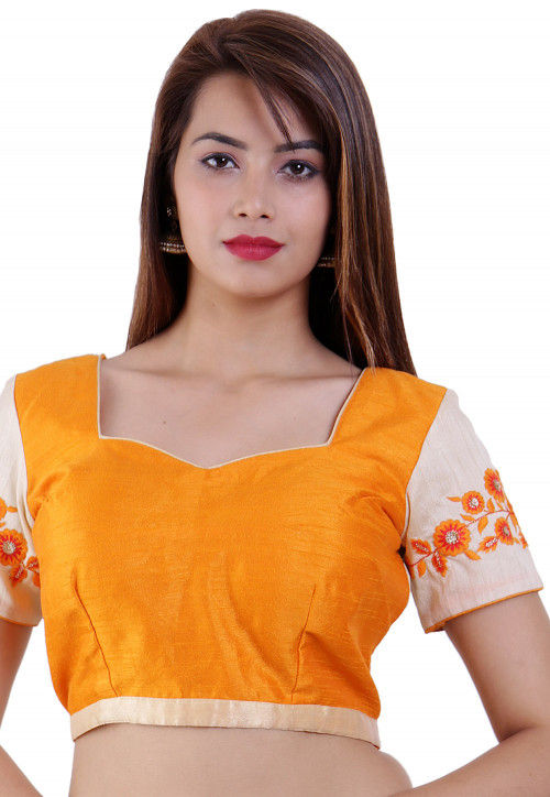 Embroidered Dupion Silk Padded Blouse in Orange and Beige