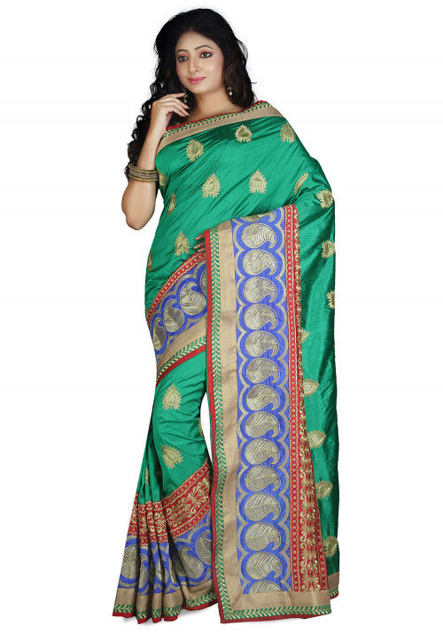 Embroidered Dupion Silk Saree in Teal Green