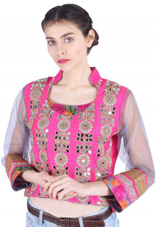 Embroidered Dupion Silk Top in Pink