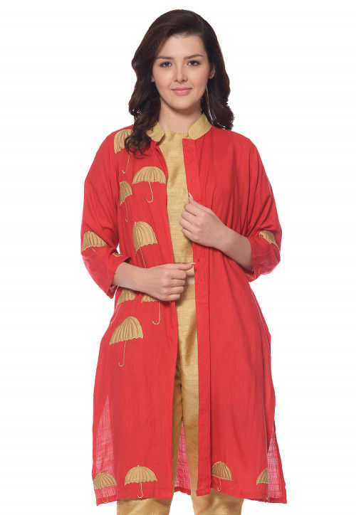 Embroidered Dupion Silk Top N Bottom Set in Red and Beige