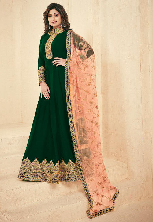Embroidered Faux Georgette Abaya Style Suit in Dark Green