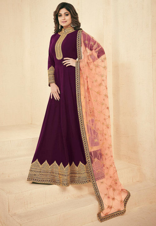 Embroidered Faux Georgette Abaya Style Suit in Dark Purple