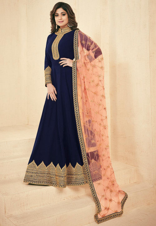 Embroidered Faux Georgette Abaya Style Suit in Navy Blue