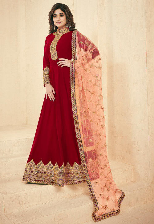 Embroidered Faux Georgette Abaya Style Suit in Red
