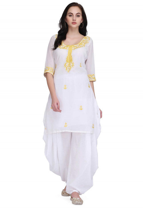 Embroidered Faux Georgette Kurti in White