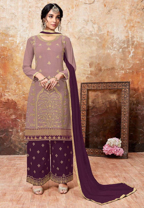 Embroidered Faux Georgette Pakistani Suit in Light Purple