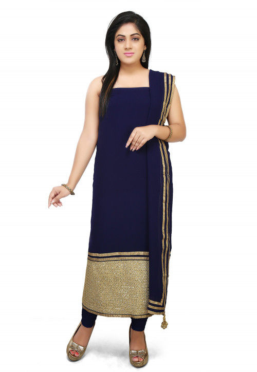 Embroidered Faux Georgette Straight Suit in Navy Blue