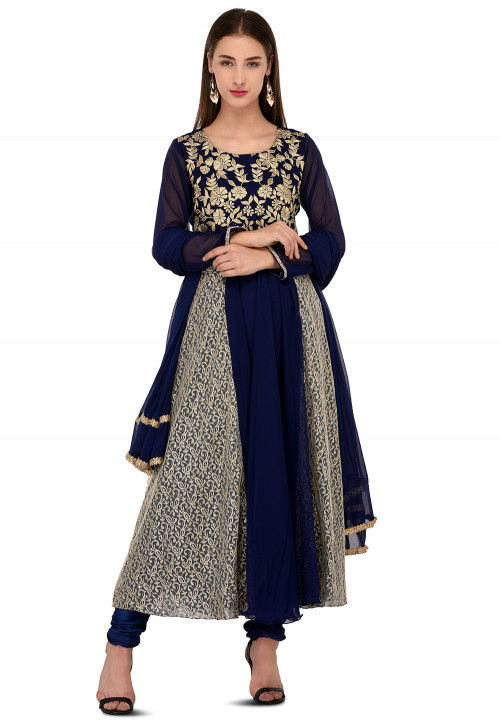 Embroidered Georgette A Line Suit in Navy Blue and Beige
