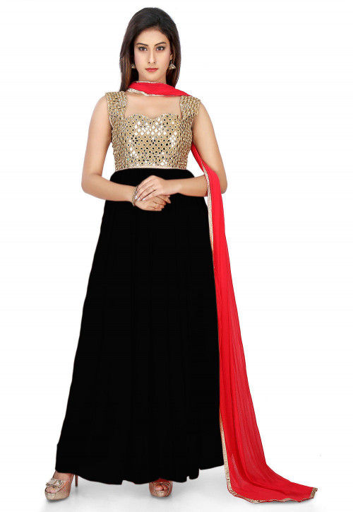 Embroidered Georgette Abaya Style Suit in Black and Beige